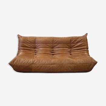 """""""Togo"""" sofa 3 places leather by Michel Ducaroy for Ligne Roset"""