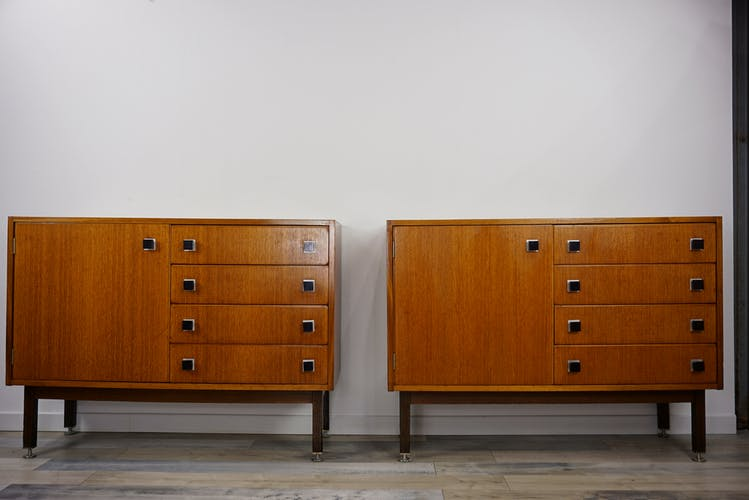 Pair of teak storage furniture 50-60's by CombinEurop