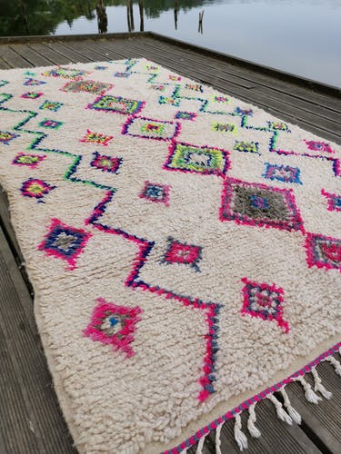 Azilal berbere rug in wool and handmade cotton 260x140 cm