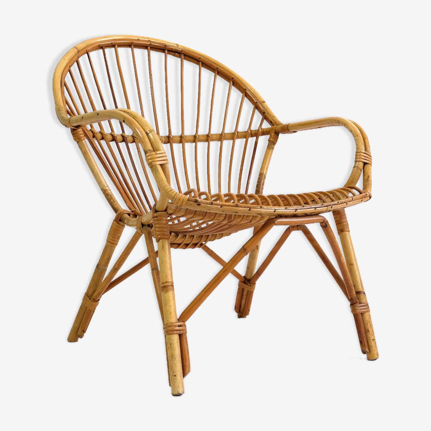 Chair rattan of 60-70 years.