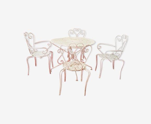 Salon de jardin - fer - blanc - classique - mzGpz0e