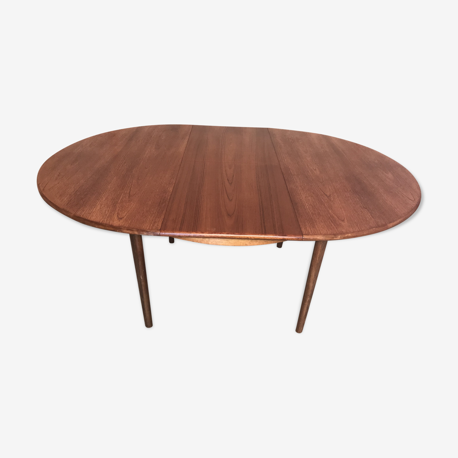 Table style scandinave en teck blond rallonge papillon