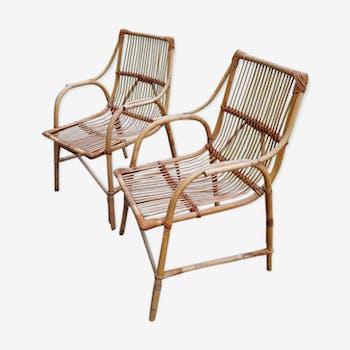 Paire de fauteuils vintage rotin