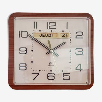formica wall pendule clock with vintage Japy dateur