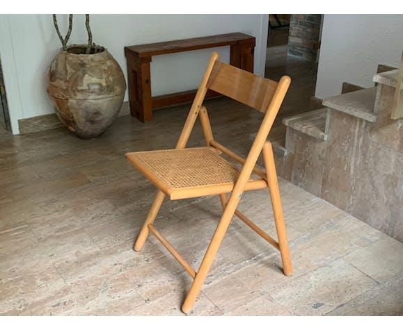 Set de 4 chaises pliantes cannées en bois, années 70