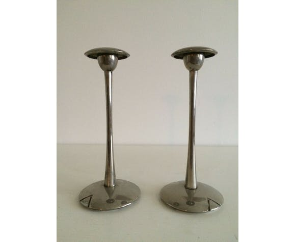 Pair of silver style Deco candlesticks