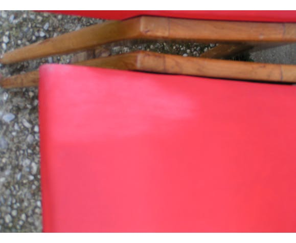 5 chaises en skaï rouge