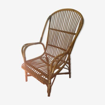Old rattan armchair years 80