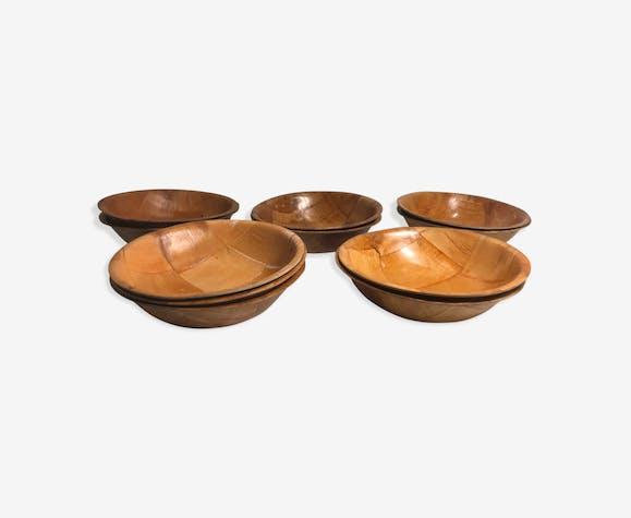 Anciens lot de 11 bols en bois années 70 empilables cuisine vintage
