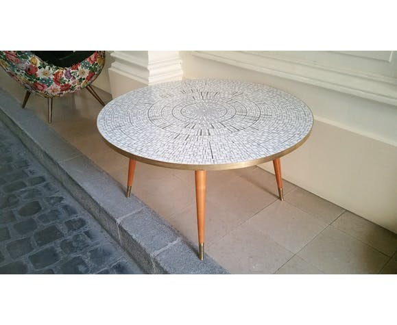 Table Basse Scandinave Des Annees 50 60 Mosaique Laiton Selency