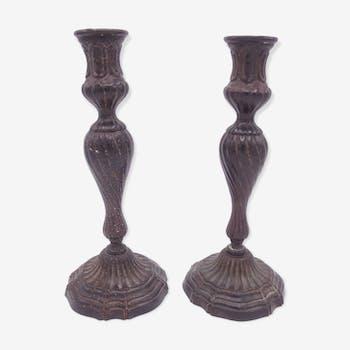 Pair of candlesticks cast-iron