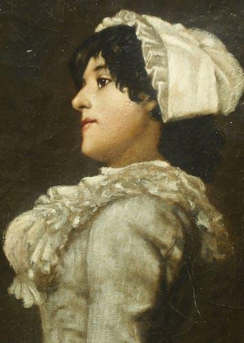 Profil d'une Elègante 1884 signé daté Hst