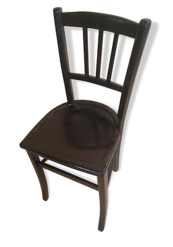 Chaise Ancienne Style BAUMANN Bistrot Noire Vintage Année 50