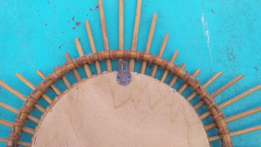 Miroir soleil en rotin  65cm