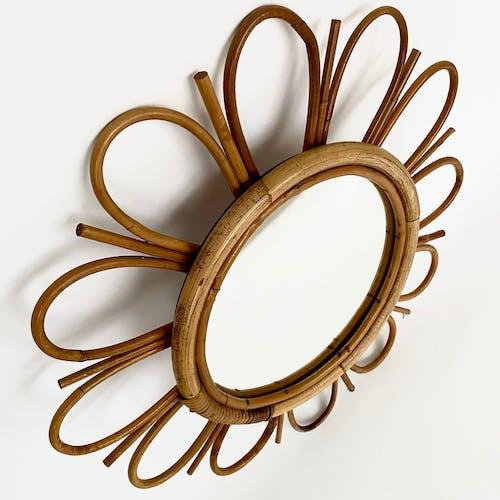 Miroir vintage marguerite en rotin 50cm
