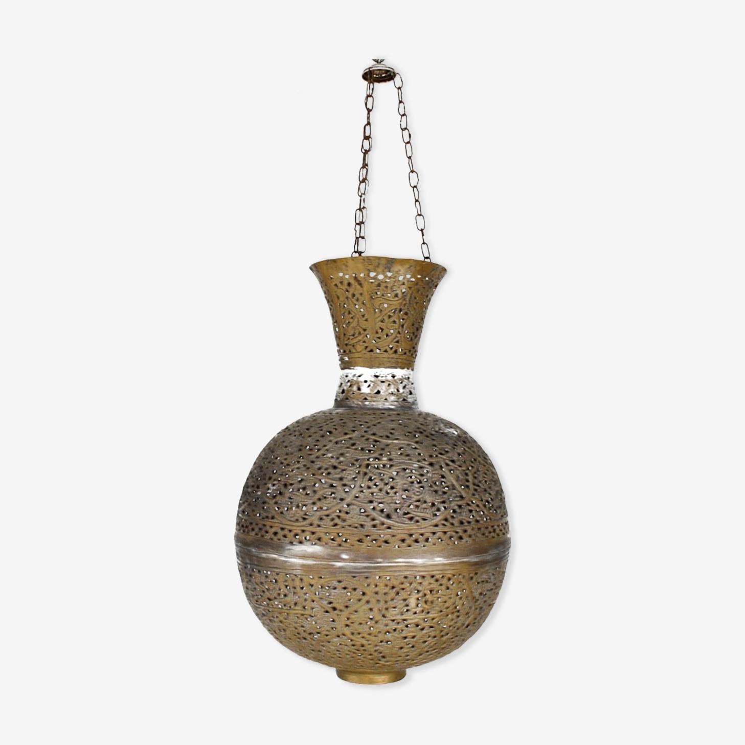 Lustre oriental XIXème forme boule ajourée