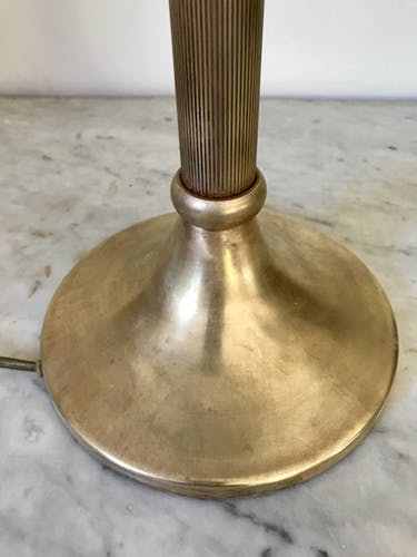 Vintage brass mushroom lamp and opaline