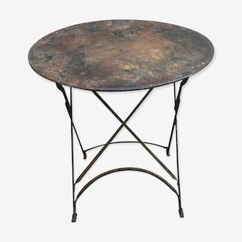 Folding iron round table