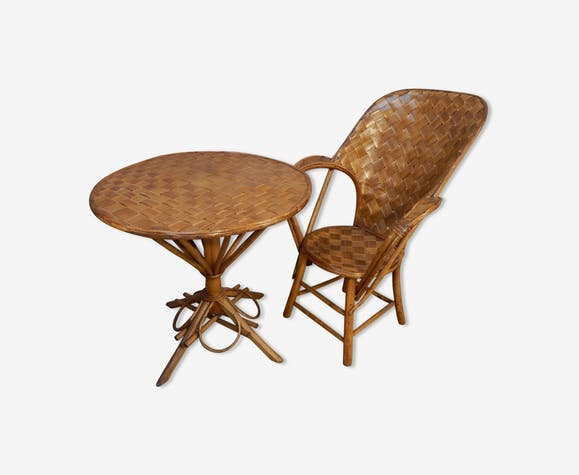 Set Vintage Fauteuils.Set Table Et Fauteuil Rotin Vintage Design 50 60 Rattan And Wicker