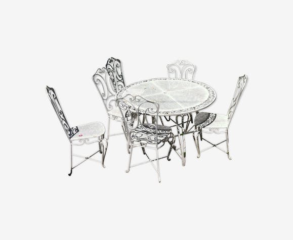 Salon de jardin an 1950 table + 6 chaises - iron - white - vintage ...