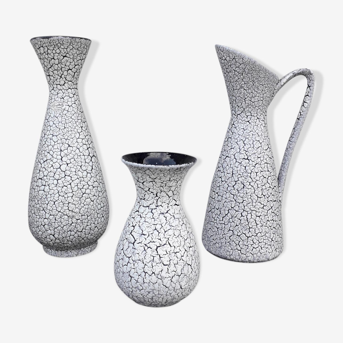 Lot of 3 vases Jasba Keramik Germany decor Cortina
