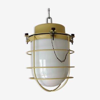 Retro opaline and yellow metal Lantern