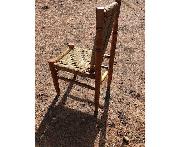 Suite de 4 chaises en paille et bois 1960
