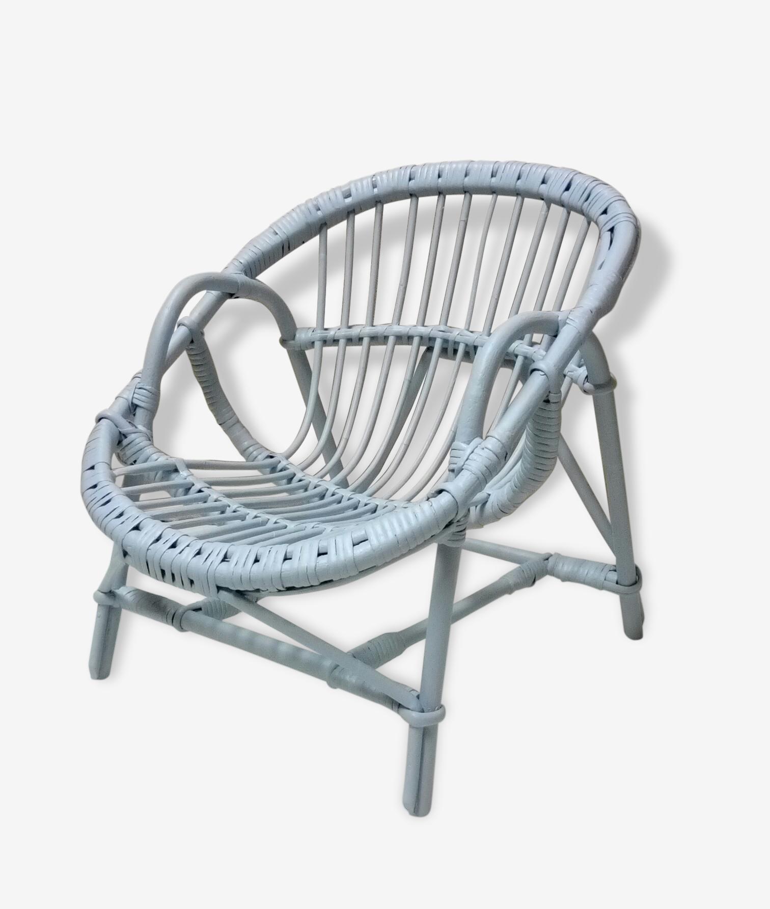 Ancien petit fauteuil osier enfant fauteuil rotin repeint en gris