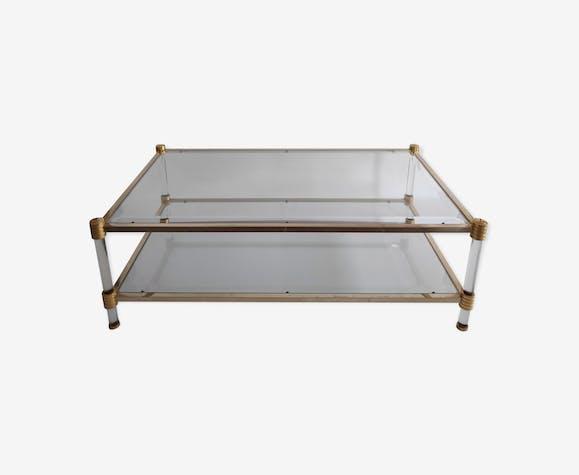 Table Basse Roche Bobois Des Annees 70 80 En Verre Et Metal Dore