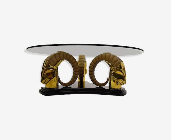 Table basse hollywood regency vintage en laiton et verre