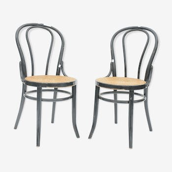 Pair of bistro style chairs in black lacquered wood