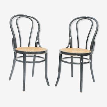 Paire de chaises style bistrot en bois laqué noir