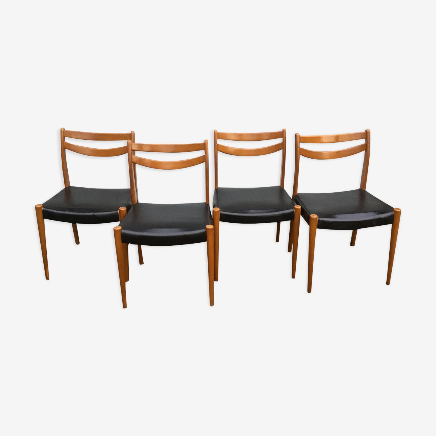 Set de quatre chaises scandinaves noires
