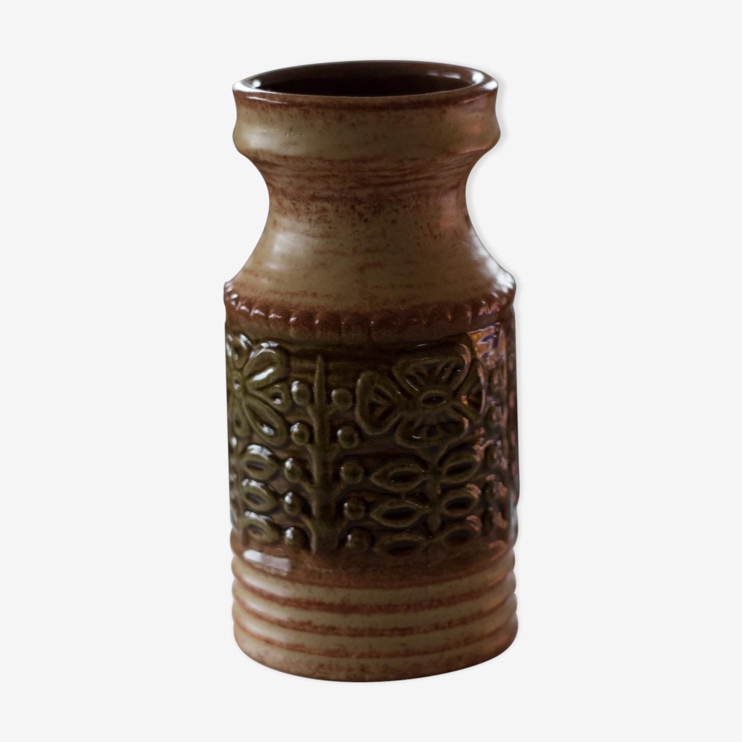 Vase allemand vintage au décor de fleurs
