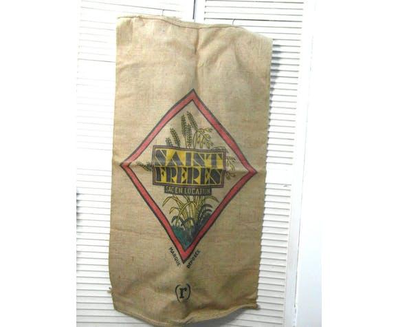 Sac à grains, vintage, sac en jute