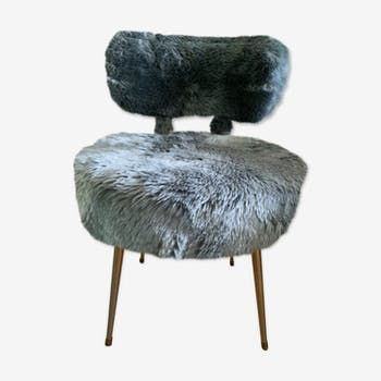Chaise moumoute bleu 60