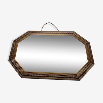 Miroir ancien en bois cuivré 30x45cm