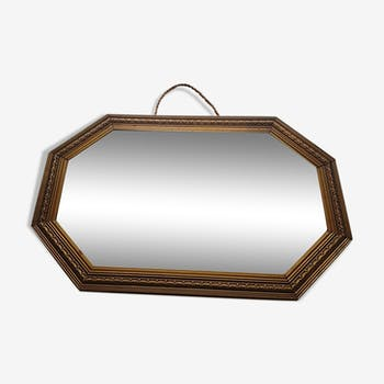 Old copper wood mirror 30x45cm