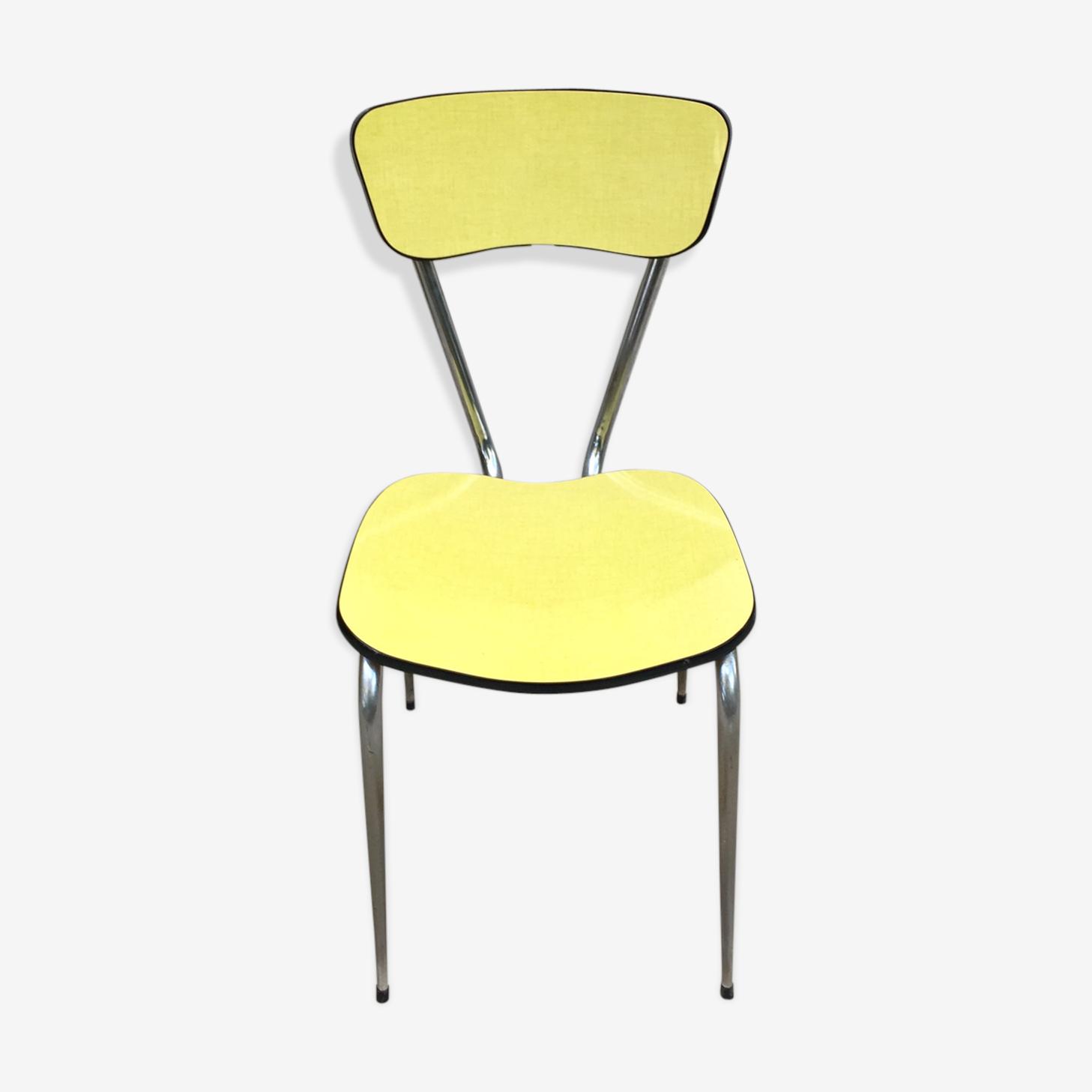 Chaise formica jaune vintage années 60
