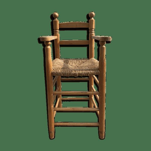 1svwhcp Enfant Son Années VintagematériaucouleurDans Jus Haute 50 Paille En Chaise Ancienne Boisamp; 5LR4Aj