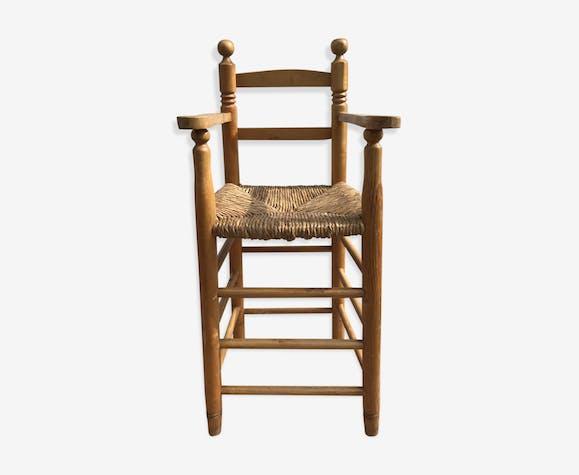Chaise Haute Ancienne Enfant Annees 50 En Bois Paille Vintage