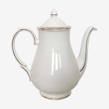 Verseuse vintage en porcelaine blanche à décor de filets dorés