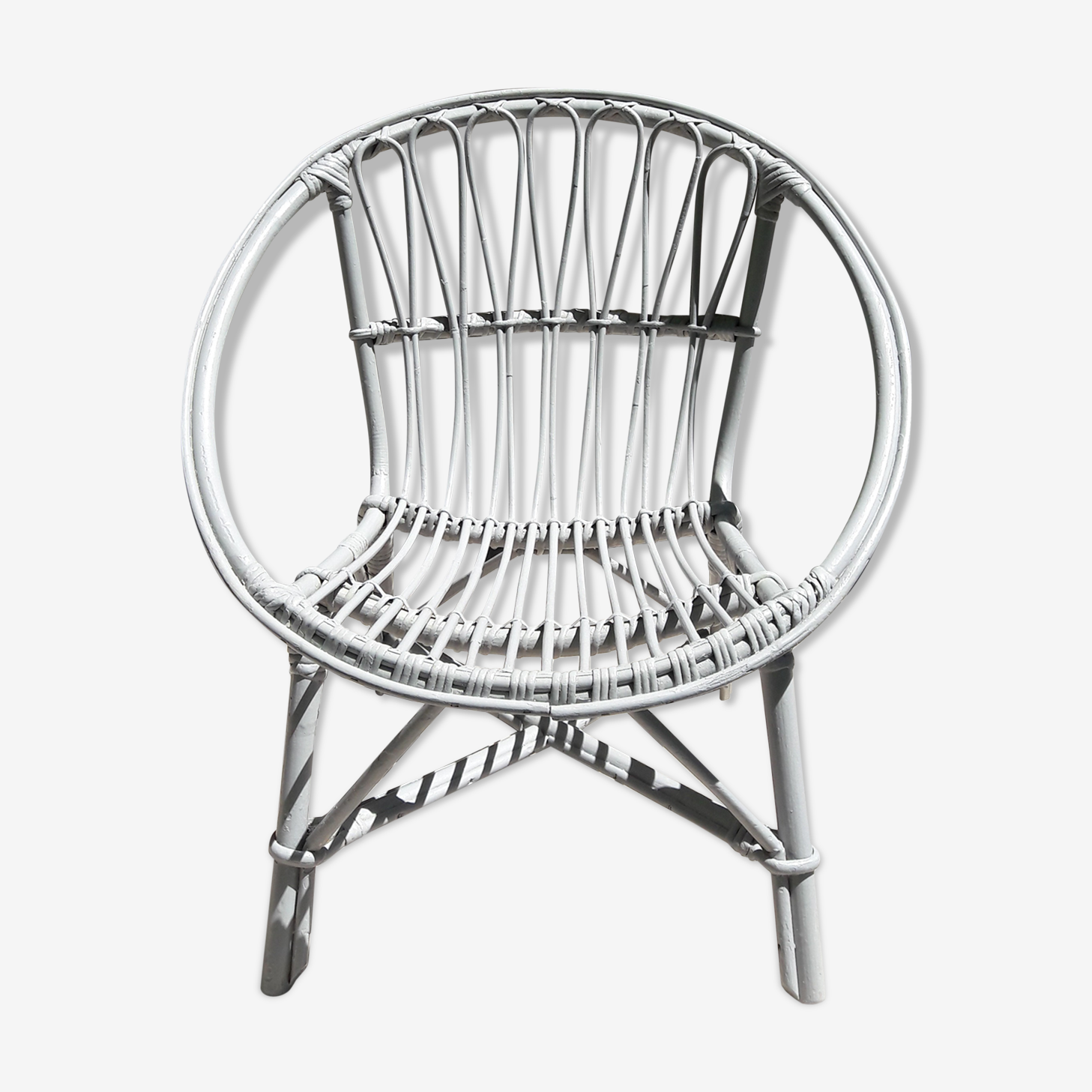 Chair grey rattan for child