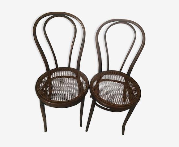 Paire de chaises bistrot en rotin et cannage