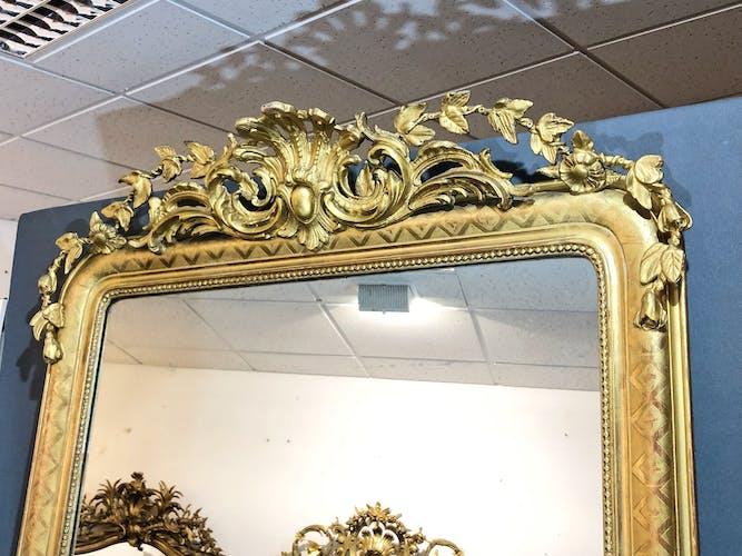 Miroir 186x109 ancien louis philippe à fronton