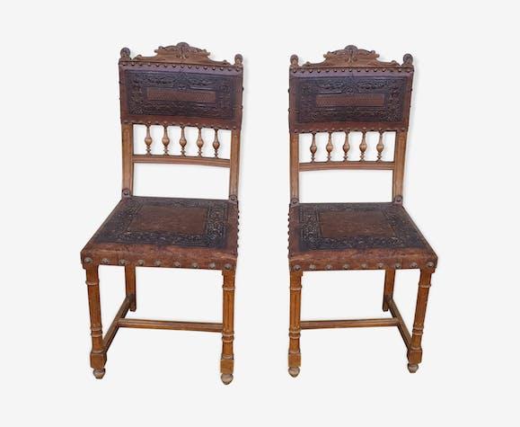 2 chaises assise et dossier cuir
