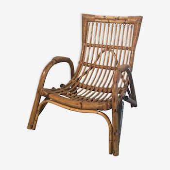 Fauteuil bambou rotin 1960