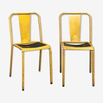 Pair of Tolix T4 chairs, circa 1950