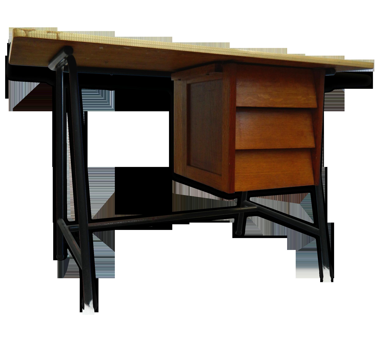 Bureau design scandinave moderniste annes 5060 vintage bois