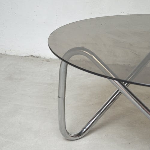 Table basse verre et métal, 1980
